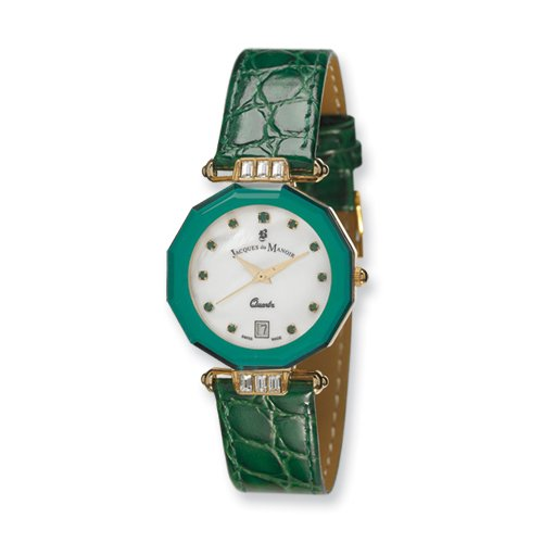 Ladies Jacques Du Manoir Green Strap Crystal Accent Watch, Best Quality Free Gift Box Satisfaction Guaranteed
