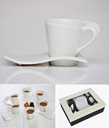 12 pièces Motif Café Cappuccino lot de 6 tasses dans coffret cadeau avec 6 tasses en céramique (115 ml chacune) et 6 soucoupes - idéal pour un