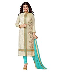 Stylefabs Designer Jolly Cream & Firozi SemiStitched Long Partywear Wedding Straight Salwar Suit