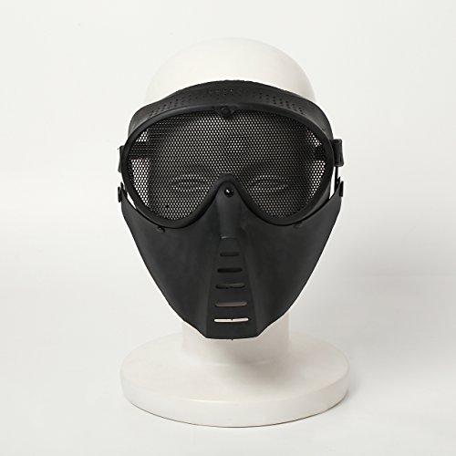 Dream ミリタリー サバゲー フェイスマスク 視界 メッシュ 入り 初心者 基本 装備 (黒色 ブラック)DR129