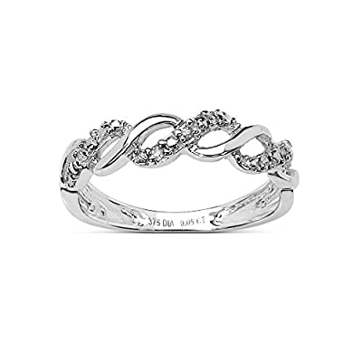 The Diamond Ring Collection: Beautiful 9CT White Gold 0.05CT Diamond 3 Row on the Twist Eternity Ring