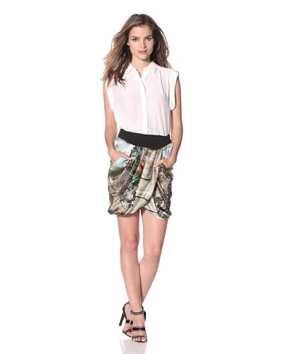 Line & Dot Women's Printed Skirt with Pleats  - Into the Wood