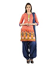 Rama Set Of Printed Orange Color Kurti With Dark Blue Color Duppatta & Patiala