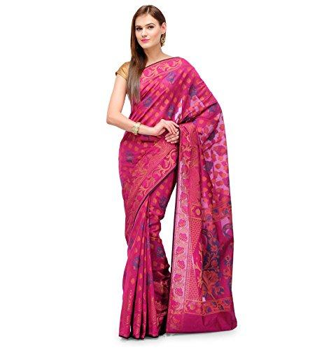 Magenta Banarasi Chanderi Cotton Saree