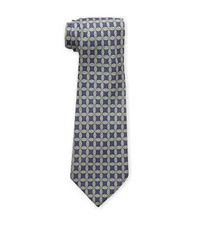 Hermès Men's Pre-Owned Patterned Silk Tie, Navy