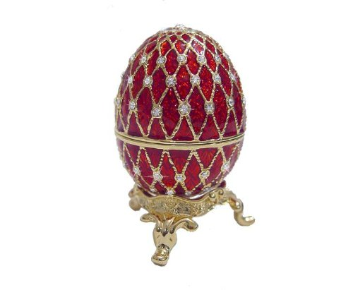 RED Faberge style Egg Box with Ring Insert, set with Swarovski Crystals Limited Edition Collectible