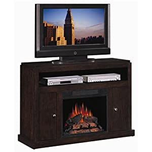 Espresso Media Mantel Amish Style Electric Fireplace Tv Stand Heater Television