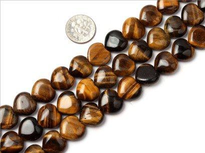 14mm heart gemstone tiger eye stone beads strand 15