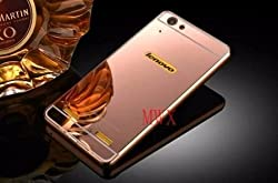 NEU SPEED HIGH QUALITY LUXURY MIRROR BACK CASE COVER WITH METAL BUMPER FOR LENOVO VIBE K5 PLUS -(ROSEGOLD)