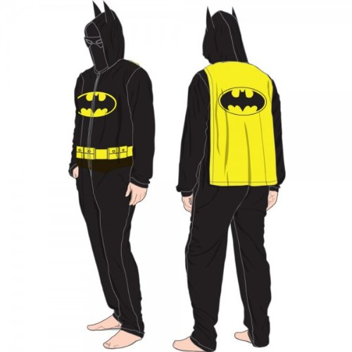 Batman Mask And Hood Union Suit Pajamas Adult