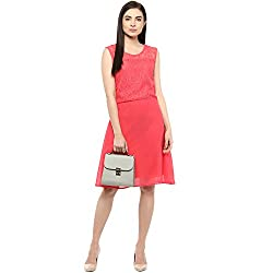 Orange Plain A line Knee Length Dress