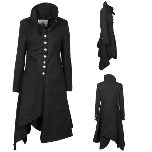 Z9 New Womens Structured Military Gold Emblem ButtonsTie Fastening Wraparound Collar Goth Gothic Ladies Fashion Size 8
