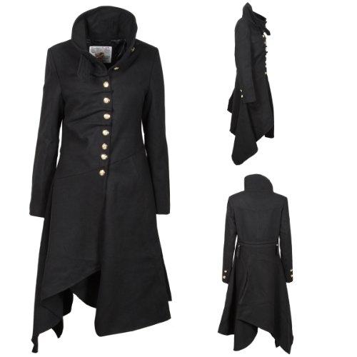 Z9 New Womens Structured Military Gold Emblem ButtonsTie Fastening Wraparound Collar Goth Gothic Ladies Fashion Size 8