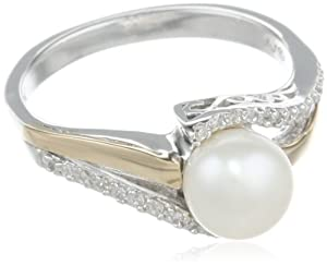 S&G Sterling Silver and 14k Yellow Gold 7mm Freshwater Cultured Pearl and Diamond Ring (0.07 cttw, I-J Color, I3 Clarity), Size 7