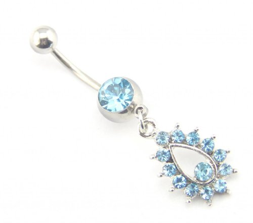 Baqi Aqua Blue Gems Dangling Belly Button Navel Rings Stud Bar Body Piercing 14G Sexy Jewerly Blue