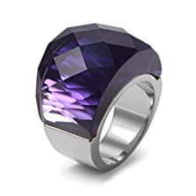 buy Womens Stainless Steel Purple Super Sized Crystal Ring Wedding Promise Engagement,Silver Base,Size 9