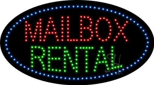 "Mailbox Rental Animated Led Sign 15"" Tall X 27"" Wide X 1"" Deep"