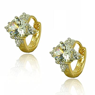 Womens Small Hoop Earrings with Simulated White Diamond 18ct Gold Filled Beautiful