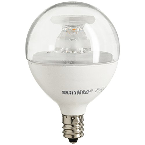 Sunlite G16.5/5W/E12/CL/DIM/ES/27K/CD LED 40W Equivalent G16.5 Globe 5W 120V Candelabra E12 Base Clear Dimmable Light Bulb, Warm White