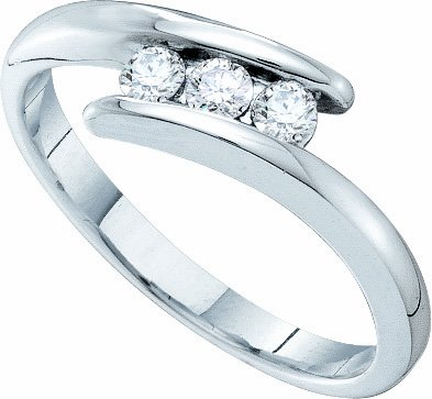 14K White Gold 0.25CT 3 Diamond Trio Promise Ring-Featuring Tension Set Mounting - Incl. ClassicDiamondHouse Free Gift Box & Cleaning Cloth