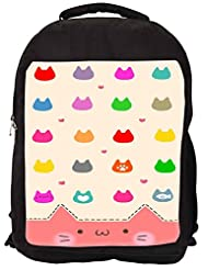 Snoogg Cute Kitty Icons Backpack Rucksack School Travel Unisex Casual Canvas Bag Bookbag Satchel