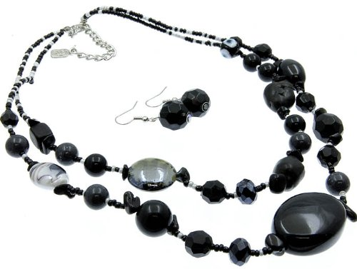 NECKLACE AND EARRING SET BEAD NATURAL STONE BLACK Fashion Jewelry Costume Jewelry fashion accessory Beautiful Charms