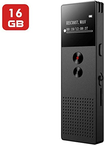 Digital Voice Recorder, Mibao 16GB USB Professional Dictaphone Voice Recorder with MP3 Player, Voice Activated Recorder with Rechargeable, Stereo HD Recording Voice Recorder for Lectures-Black (Color: Black)