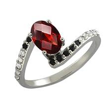 buy 0.90 Ct Oval Checkerboard Red Garnet Black Diamond Sterling Silver Ring