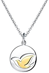 """MISS MIMI by Elaine J. 925 Sterling Silver Two-Tone Dove Pendant Necklace,17.8"""""""