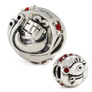 Rudolph and Santa's Sleigh Flip Charm 925 Sterling Silver and Red CZ Authentic Ohm Christmas Bead fits European Charm Bracelet