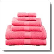 6 Piece Cotton Bath Towel Set Deep Pink