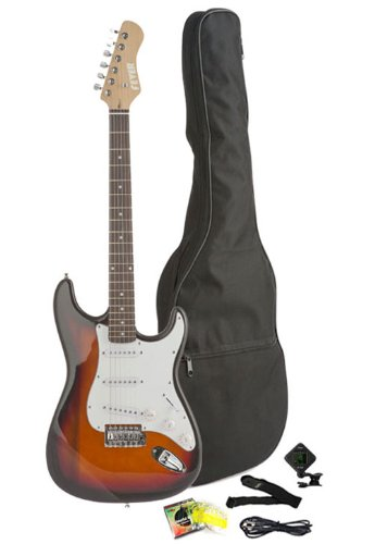 Fever Full Size Electric Guitar With Gig Bag, Clip On Tuner, Cable, Strap And Strings Color Sunburst, A600-Sb