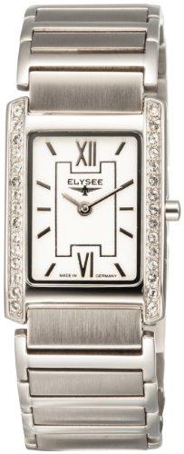 Elysee 84012 - Reloj analógico de mujer de cuarzo con correa de acero inoxidable plateada - sumergible a 30 metros