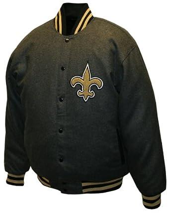 NFL Mens New Orleans Saints Charcoal Dual Edge Reversible Wool Jacket by MTC Marketing, Inc