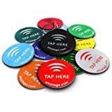 NFC tags - NTAG213 Chip - 10 Pack + Keychain + Free Bonus Tag - Android Writeable & Programmable - Adhesive Sticker Back - Samsung Galaxy S6 S5 S4 Note 4 - HTC One First One X Droid DNA - Sony Xperia - Nexus - Smart Tags - Best Money-Back Guarantee!