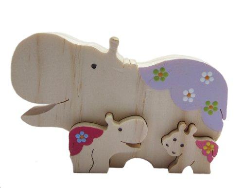 Cheap Patricia Avenue Handmade Artisan Organic Decorative Toy Puzzle – Rhinosaurous Family I (Hand-painted) (B004EHIZRU)