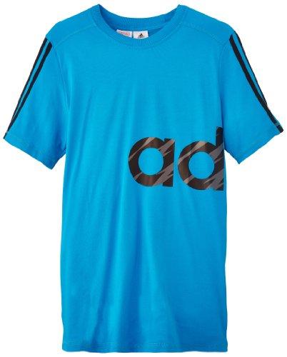adidas Recharged - T-shirt da ragazzo, con logo, Blu (blu/nero), FR : 15-16 anni (Taglia produttore: 176)