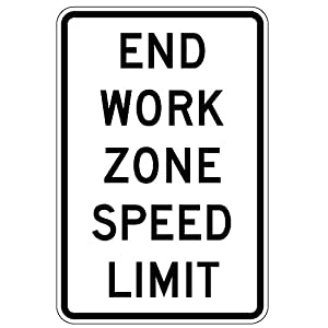 MUTCD R2-12 - End Work Zone Speed Limit, 3M Reflective Sheeting, Highest Gauge Aluminum,Laminated, UV Protected, Made in U.S.A