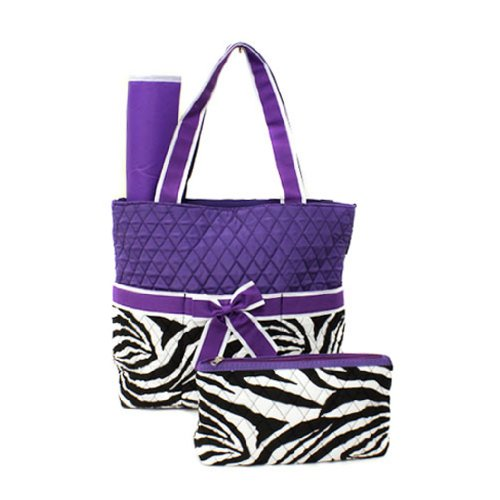 Luggage 7014 Quilted Zebra Diaper Bag Purple Swt12