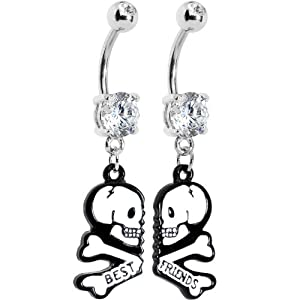 Clear Gem Two White Skulls Best Friends Dangle Belly Ring Set from Body Candy