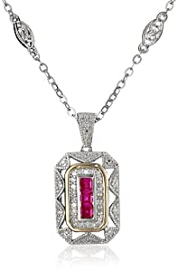 S&G Sterling Silver and 14k Yellow Gold Created-Ruby with Diamond-Accent Art Deco Style Necklace (0.12 cttw, I-J Color, I2-I3 Clarity), 17""