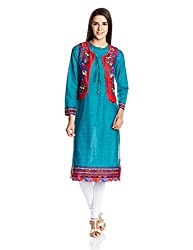 Biba Women's Cotton Straight Kurta (Infinity # 9625_Teal Green_34)