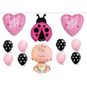 Pink Ladybug Baby Shower It'S A Girl Balloon Kit Mylar Latex Set Party Supplies front-934461