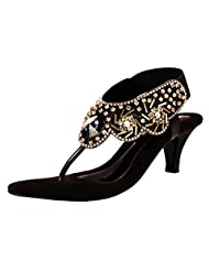 Liza Women's Synthetic Black Heeled Sandal - B00W5E2RGO