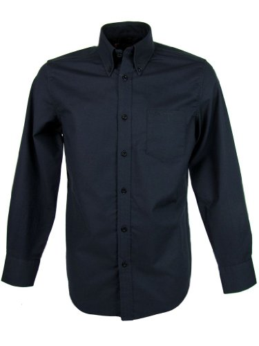 Ben Sherman Oxford Shirt Plain Long Sleeves Black [Large]
