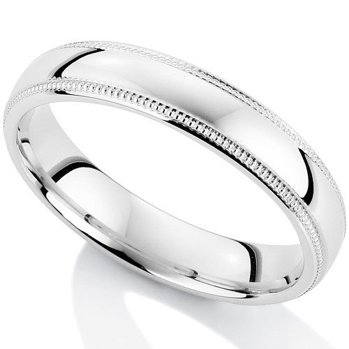 Millgrain Edge 9Ct White Gold Wedding Ring in a 4mm Court Profile - Size Q