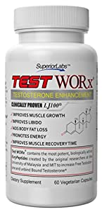 Testosterone Booster Supplement TEST WORx - 6 Week Cycle - 100% Made in the USA! Ingredients clinically proven in HUMAN trials to raise testosterone levels by 70-132%. Read More Below...