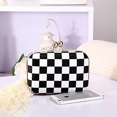 HSE Women's Fashion Black and White Checker Plaid Damier Middot Evening Bags Clutches Multi-color