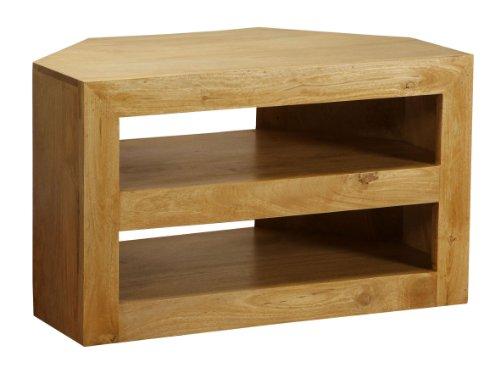 Homescapes - Dakota - TV / DVD Corner Unit - Oak Finish - 100% Solid Mango Hard Wood - ( No Veneer ) Hand Crafted Furniture