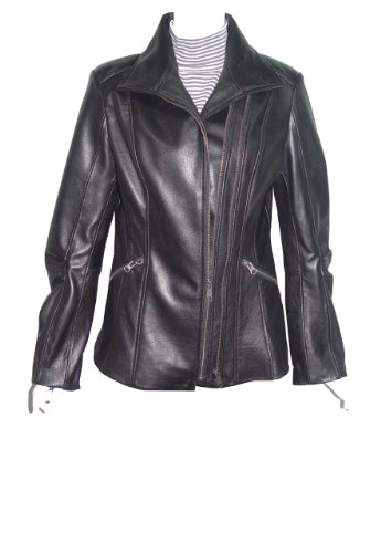 Nettailor Women 4196 soft Leather Casual Jacket Double Zip Front Zipped Pocket
